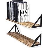 Wallniture Minori Floating Shelves Set of 2, Small Bookshelf Unit for Bedroom,...