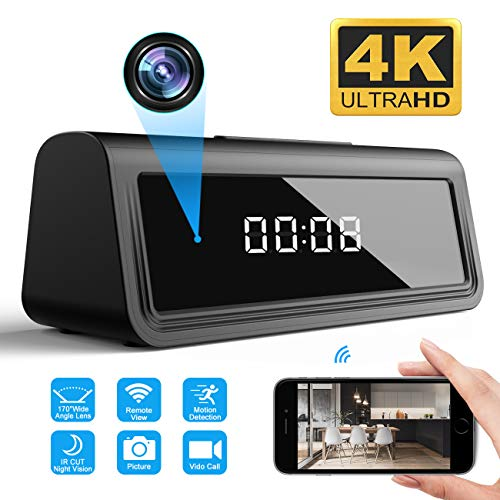 WOONZER 4K Clock Hidden Camera WiFi Spy Camera Wireless Camera Indoor Home Security Surveillance Camera IP Camera Nanny Cam with Night Vision, Motion Detection, 160 Degree Wide Angel
