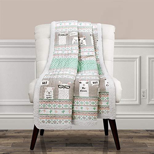 "Lush Decor Llama Stripe Fuzzy Reversible Sherpa Throw Blanket, 60"" x 50"", Turquoise & Pink"
