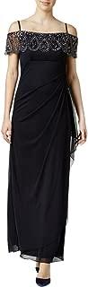 Xscape Womens Petites Embellished Off-The-Shoulder Evening Dress