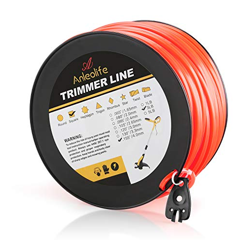 Anleolife 3-Pound Commercial Square .155-Inch-by-280-ft String Trimmer Line in Spool,with Bonus Line...