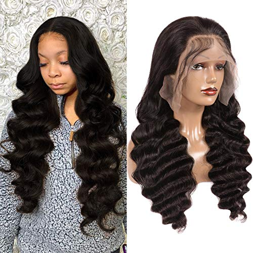 JIETAI T-Part Loose Deep Wave Lace Front Wigs Human Hair for Black Women Wigs 150% Density Lace Front Human Hair Wigs Pre Plucked Bleached Knots with Baby Hair (28inch)