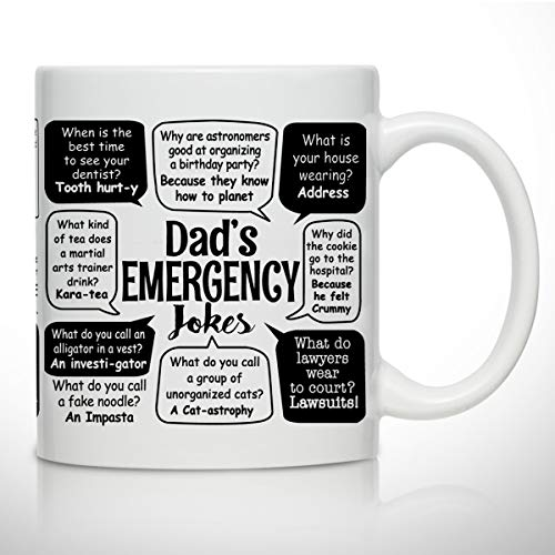 Novelty Coffee Mug for Dad- Dad Jokes- Wrap Around Print- Gift Idea for Fathers- Best Dad Gift- Gag Father's Day Gift- Funny Birthday Present for Dad From Daughter, Son