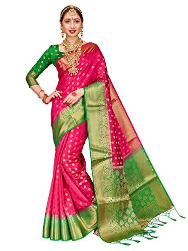 HEART N SOUL Sari indien Bollywood pour femme Banarasi Art en soie tissée avec chemisier non cousu - Rose - Taille Unique