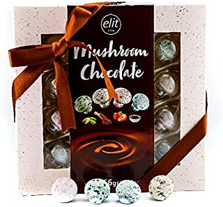 Elit - Mushroom Chocolate, 4 different flavor (16 Count mushroom shaped chocolate) with red ribbon 256g / 9.02oz