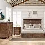 Merax 3 Pieces Farmhouse Storage Queen Bedroom Set with Queen Size Platform Storage Bed, Nightstand and Dresser, Rustic Reclaimed Solid Wood Bedroom Furniture Set