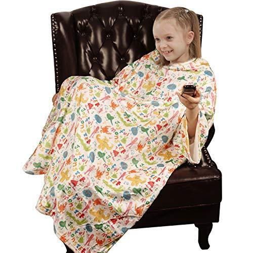 Softan TV-Decke mit Ärmeln und Fußtaschen für Kinder, Jungen, Mädchen, Kinder, leicht, weich, Plüsch, Überwurf mit Ärmeln und verstellbarem Klettverschluss, 120 x 138 cm, Monster (Kängurutasche)