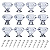 D-buy 12 Pack 30mm Cabinet Knobs Drawer Pulls Drawer Knobs Dresser Knobs Diamond Shaped Crystal Glass with Screws (plata)