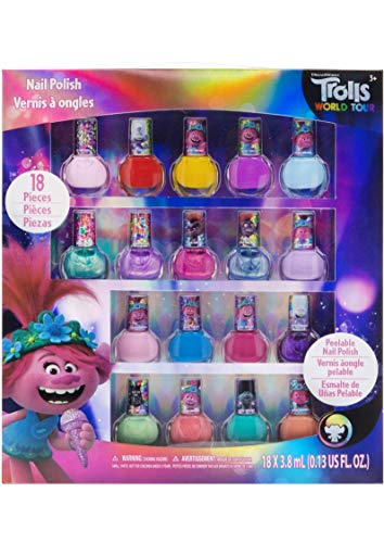 Townley Girl Dreamworks Trolls Non-Toxic Peel-Off Nail Polish, Deluxe Set for Kids, some with Glitter (18)