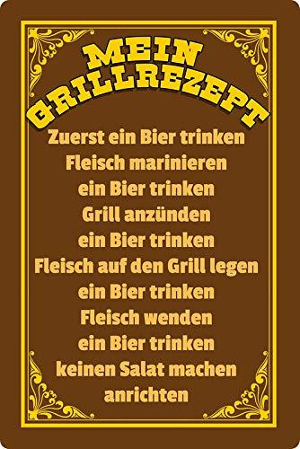 Generisch blikken bord 20x30cm gebogen Mijn Grill recept grillrecept spreuk decoratie bord