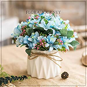 Artificial Silk Full Hydrangea Flowers with Vase for Home Garden Baby Shower Wedding Decor (Blue Daffodils)