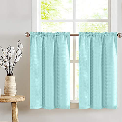 """Light Teal Short Aqua Curtains for Bathroom 24"""" Water Repellent Waffle Weave Textured Tiers Window Covering for Kitchen Curtains 1 Pair"""