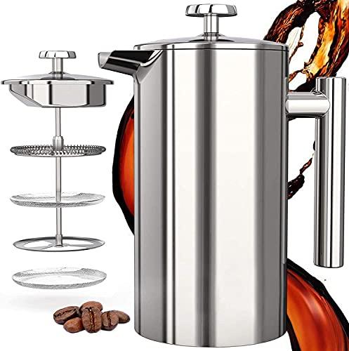 French Press Kaffeebereiter 1 Liter (8 Tassen), Hom Geek 304 Edelstahl Kaffeebereiter Doppelwandig Isoliert, Handfilter Kaffeepresse mit 1 Extra Sieben, 3-Stufen-Filtrationssystem, Kein Kaffeesatz