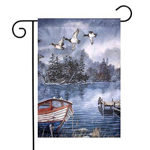 CHANGSHABF Tuin Banners Winter Lake Swallow En Eenden Festival Tuin Vlag Voordeur Vlag Decoratieve Thuis Outdoor Vlag 30X45Cm