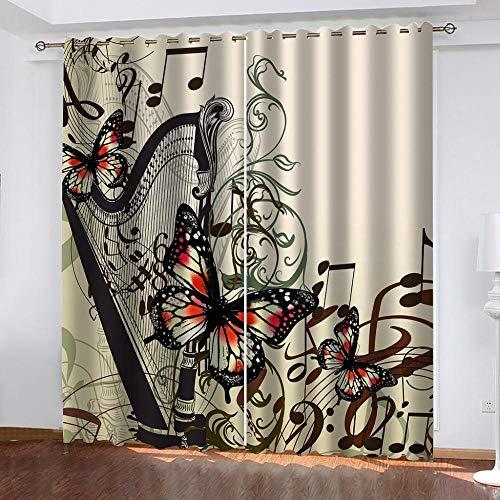 Ageeseso Gardinen-3D Blackout Vorhänge HD Cartoon Schmetterling Musiknote Digitaldruck Wohnzimmer Schlafzimmer Hotel Büro—Verdunkelung Thermo Gardinen Ösenvorhang Wärmeisolierend 170(W) x200(H) cm W