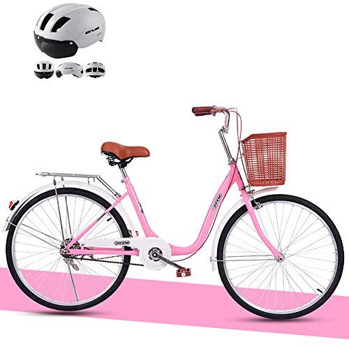 ZZD Leichtes Fahrrad aus Kohlenstoffstahl für Mädchen und Frauen, Comfort City Bike, 24-Zoll-Cruiser für Damen, Pendlerfahrrad mit Korb und Glocke,Rosa