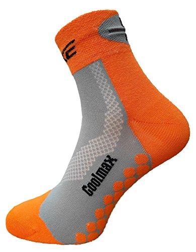 eXPANSIVE COOLMAX Chaussettes courtes réfléchissantes pour vélo Orange/gris, Orange/gris, UK 2.5-5 / EU 35-38
