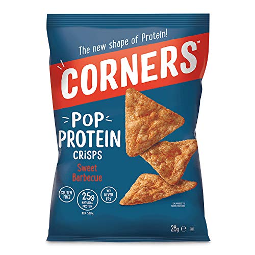 Corners, Crunchy Protein Crisps - Simple Natural Ingredients, Gluten Free, Non-GMO, Protein Chips, Sweet Barbeque Flavour - Healthy Snacks for Kids and Adults, 28g Pack of 18