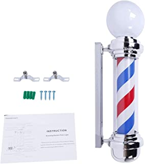 Mefeir 32'' LED Barber Pole Light Classic Style,Hair Salon Barber Shop Open Sign,Rotating Red White Blue LED Strips,IP44 Waterproof Save Energy (32'')