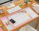 Desk Pad with Calendar, Aisakoc 25.6'' x 12.6'' Waterproof Desk Mouse Pad Multifunction Office Desk Mat with Phone Holder, Pockets and Planner Cards (Pink)