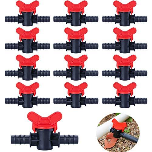 Kalolary 20 piezas válvula de riego por goteo 16mm PE válvula de cierre recta válvula de cierre válvula de Pulgada para Tubo, plantación jardín trasero conexión tuberías de riego por goteo