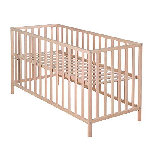 Roba Lit enfant 'Cosi', 60 x 120 cm, lit bébé bio hêtre massif naturel, lit à barreaux à hauteur réglable sur 3 niveaux