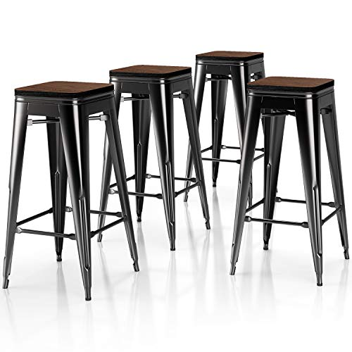 VIPEK 30 Inch Metal Bar Stools High Bar Chair Solid Wood Seat Set of 4 Backless Kitchen Bar Height Barstool Stackable Dining Stools for Home Pub Restaurant Cafe Patio, Gloss Black