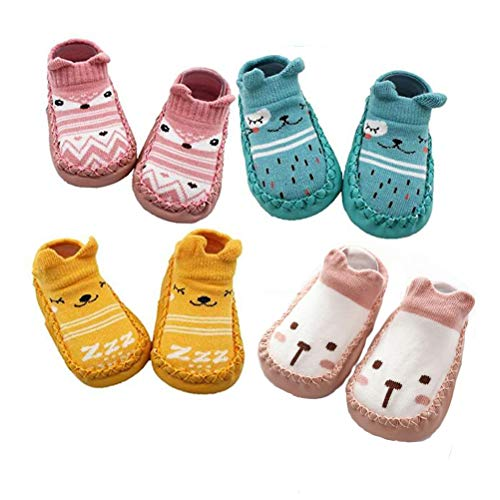 XM-Amigo 4 Pairs of Baby Boys Girls Indoor Pre-Walker Shoes Slippers Anti-Slip Shoes Socks, Pink Set02, 6-12 Months