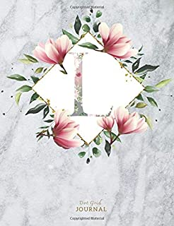 L Gray and flower Marble Journal: dot grid notebook 7.44x9.69 inches soft cover marble - 110 pages Gift for marble Lovers | Pink Flower Monogram Letter L