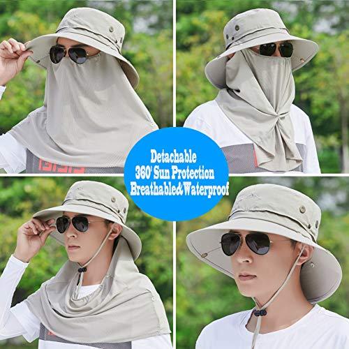 HUHD Angelmütze Mit Nackenklappe,breite Krempe Sunscreen Cover Sonnenschutz Sommer Outdoor Aktivitäten Für Männer-e One Size