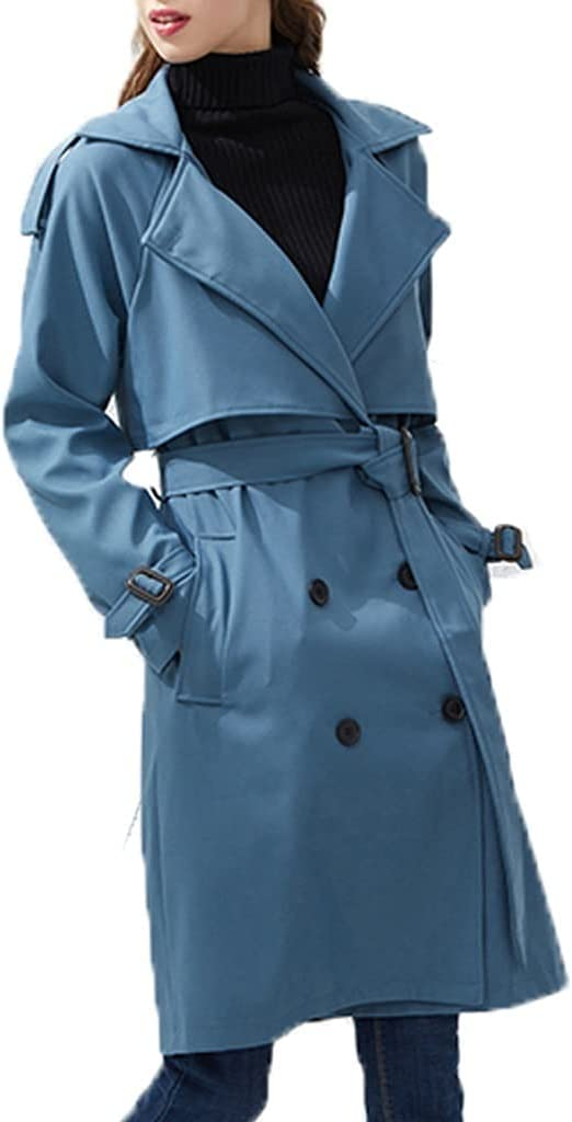 ZTTZX Autumn Double Breasted Mid-Long Trench Coat Women Casual Streetwear Slim Belt Cloak Vintage Windbreaker Outwear (Color : Blue, Size : M Code)
