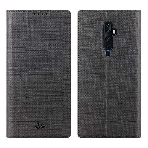 Reno 2Z Hülle,Premium Leder Geldbörse Tasche mit [Kickstand][Kartenhalter][ID Holder][TPU Bumper] Stoßfest Schutzbrieftasche Stoßfest Flip Tasche für Oppo Reno 2Z Smartphone,schwarz