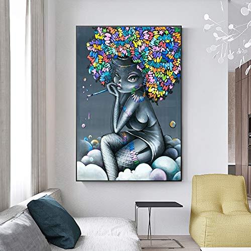 Canvas kunst olieverfschilderij abstract graffiti cartoon kleur meisje muurschilderij afbeelding zonder lijst schilderij