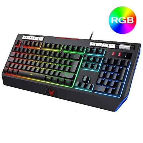 Gaming-Tastatur UK-Layout, RGB Gaming Keyboard Wired mit 9 unabhängigen Multimedia Steuerung Lautstärke Rad, eigene Telefon-Halter for PC Computer-Laptop, bequem for Gamer XUAGMT ( Color : Black )