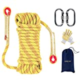 EMEKIAN 12mm Yellow Outdoor Climbing Rope, 15M(49ft) Static Rock Climbing Rope for Escape Rope, Ice Climbing Equipment, Fire Safety Rescue Rope, with Non-Slip Gloves