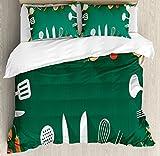 Cocina Decor de edredón por Ambesonne, utensilios de cocina verduras especias cocina creativa casa y café diseño de receta, decorativo juego de cama con almohada, verde rojo, tela, Multi 1, matrimonio