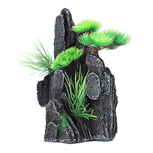 Binxory Aquarium Decoration Mountain View Stone Ornament Fish Tank Decor with Small Plants