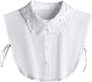 YAKEFJ Lady Half-Shirt Blouse Detachable Lace Chiffon Fake Collars Dicky Collar Faux Collar
