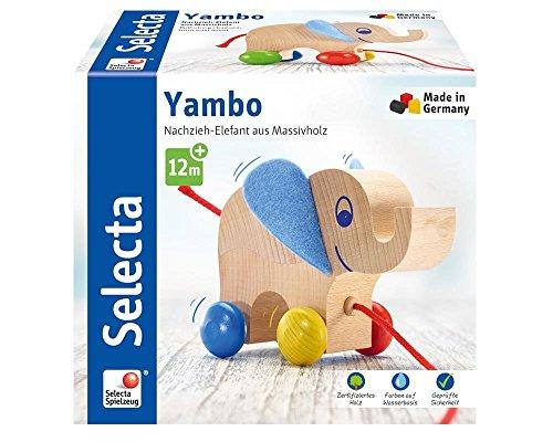Selecta 62000 Yambo, Nachzieh Elefant, Schiebe-und Nachziehspielzeug aus Holz, 13, 5 cm