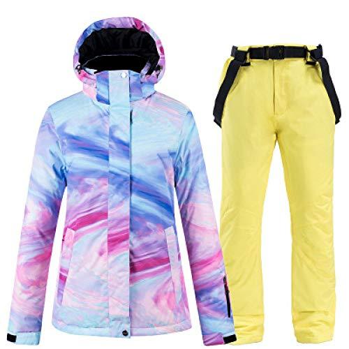 YRFDM Combinaison de Ski,Nouvelle Combinaison de Ski Femme Hiver Coupe-Vent 2 pièces Combinaison de Ski Femme Veste de Ski et Manteaux de Ski Manteau de Snowboard de Sport en Plein air, D, XL