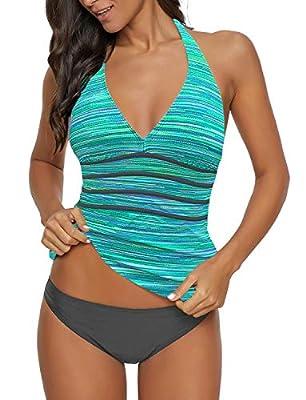 GRAPENT Women's Green Printed Two Piece Halter V Neck Panel Open Back Tankini Set Swimsuit Size Medium US 8-10