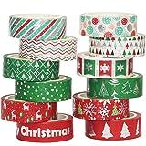 YUBBAEX Washi Tape Set Natale Tape decorative colorati Masking Tape Set per decoratori fai da te scrapbooking adesivo scuola materiale per feste Incartare Regali 15 mm (argento X'Mas 12 rotoli)