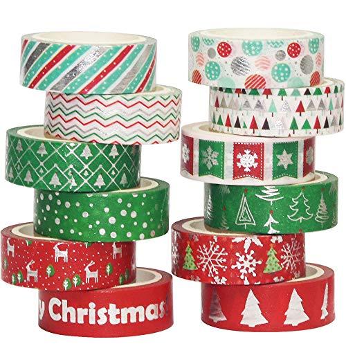 YUBBAEX Navidad Washi Tape Set cinta adhesiva decorativa para artes, DIY Crafts Scrapbooking 15mm (Plata Xmas 12 Rollos)