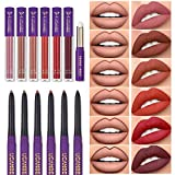13pcs Lipstick Makeup Kit, 6 Matte Liquid Lip Sticks + 6 Lip Liner Pens + 1 Lip Primer, UCANBE LADY'S NIGHT All in One Waterproof Long Lasting Lips Color Gloss Make up Gift Set