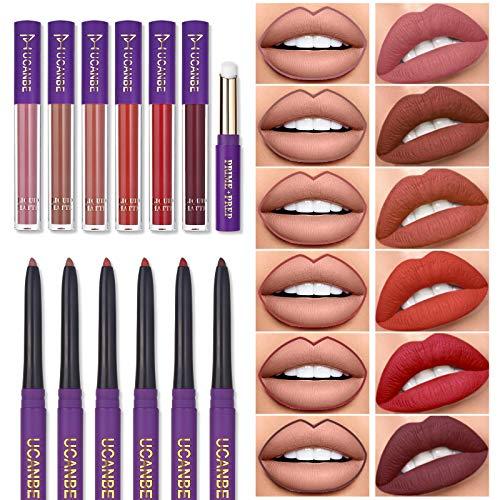 13pcs Lipstick Makeup Kit, 6 Matte Liquid Lip Sticks + 6 Lip Liner Pens + 1 Lip Primer, UCANBE LADY'S NIGHT All in One Lips Color Make up Gift Set