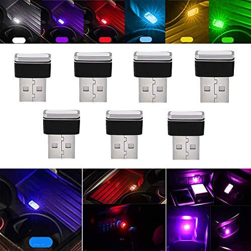 STARPIA 7PCS Mini USB LED Luces Decorativas de Ambiente para Interior Coche, Iluminación Luces para Coche Atmosphere Light USB Universal Luz LED para Coche Decoracion