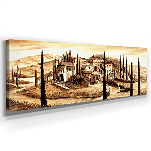 Mia Morro - Castello Toskana - WANDBILD Italien DEKO - Kunst - XXL 150 x 50cm, Leinwand auf Echholzrahmen aufgespannt, UV-stabil und wasserfest, XXL Deko Bild abstrakt FineArtPrint Wandbild