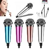 Mini Voice Recording Microphone Portable Karaoke Mini Karaoke Microphone, Mic for Singing, Recording, Voice Recording (Silver)