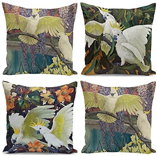 JOVEGSRVA Juego de 4 fundas de almohada decorativas de loro blanco de 45 cm x 45 cm, fundas de almohada para sala de estar, sofá cama