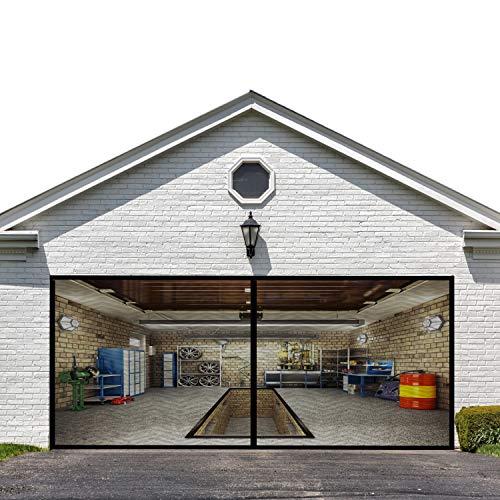 Magnetic Garage Screen Door for Double Garage Doors 16x7FT- Reinforced Fiberglass Door Screen,Stronger 2100g(4.6LB) High Energy Magnets ,Hands Free Magnetic Screen Door